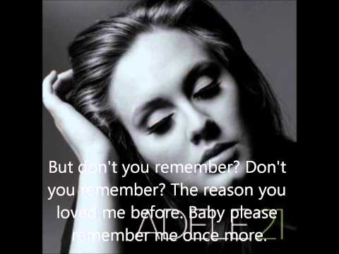 Don't You Remember - Adele (lyrics video)