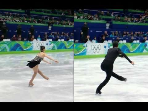 [HQ] 3Lz+3T Combo by Yu-Na Kim and Evan Lysacek, side by side (1/10x)
