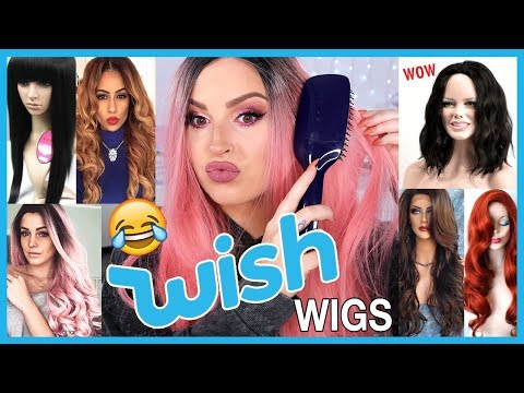 Trying On Cheap WISH APP Wigs! 💩😍 LOL Wtf....
