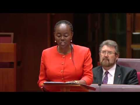 Kenyan born Senator Maiden speech in Canberra