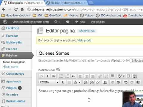 Tutorial Wordpress Tema 4 Agregar Paginas y Articulos - YouTube