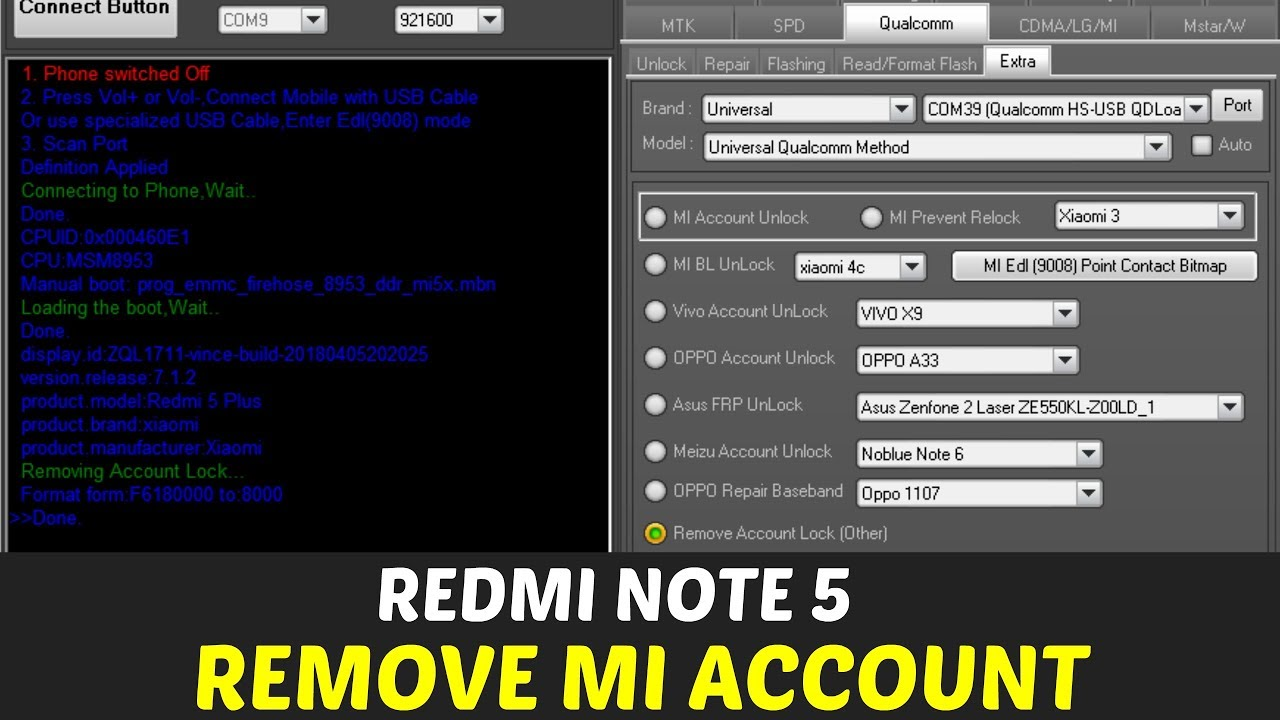 Redmi Note 5 Mi Account Remove Miracle