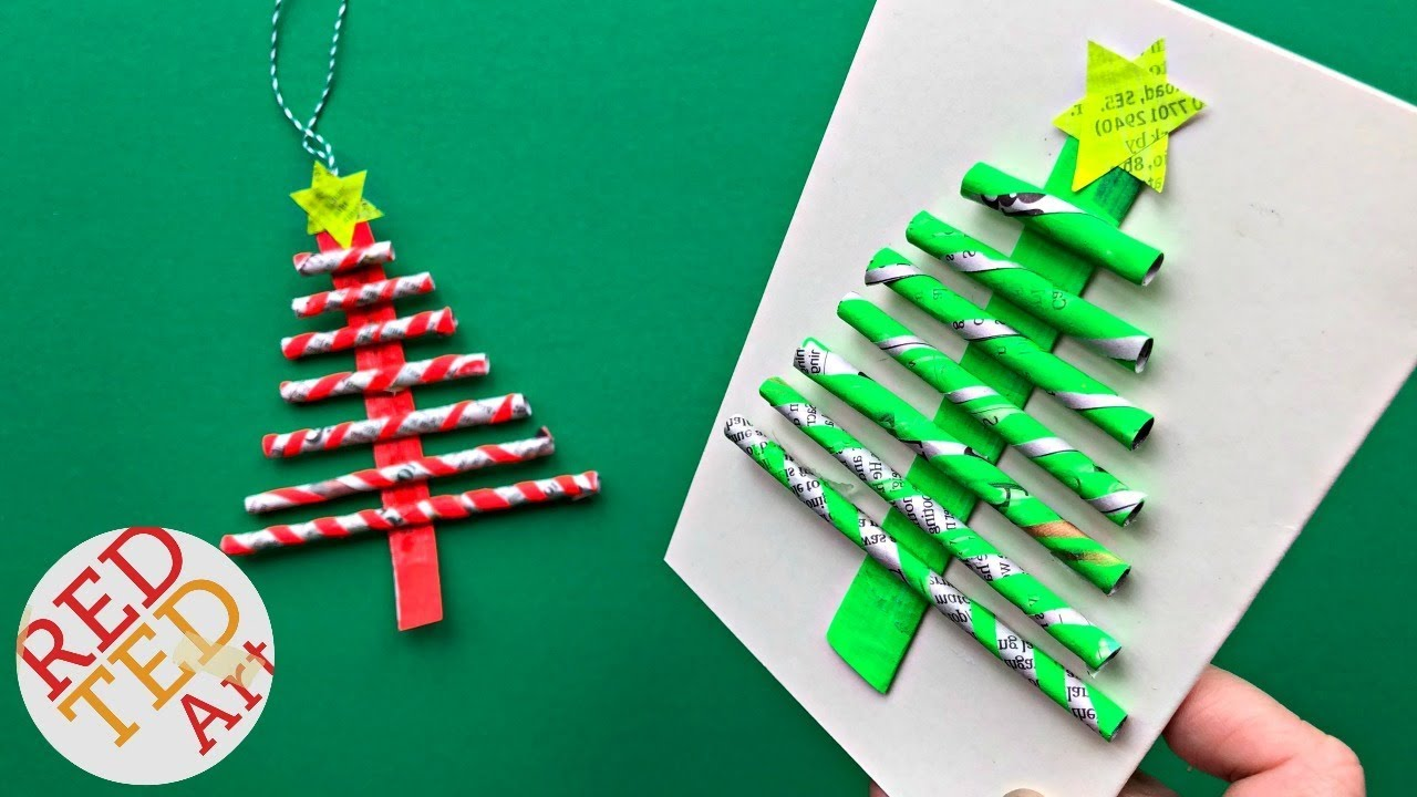 DIY Paper Straw Christmas Tree Ornament & Card DIY - Easy ...