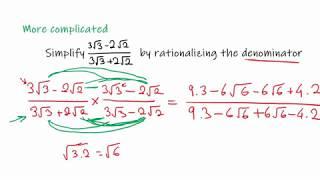 MCV4U/Grade 12 Calculus and Vectors - 1.1 Radical Expressions: Rationalizing Denominators