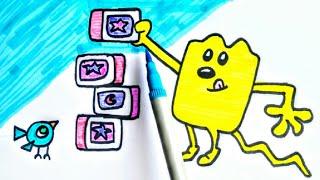 How To Draw Wubbzy And Birdie Bird Playing With Blocks!!! | Wow Wow Wubbzy Colours for kids