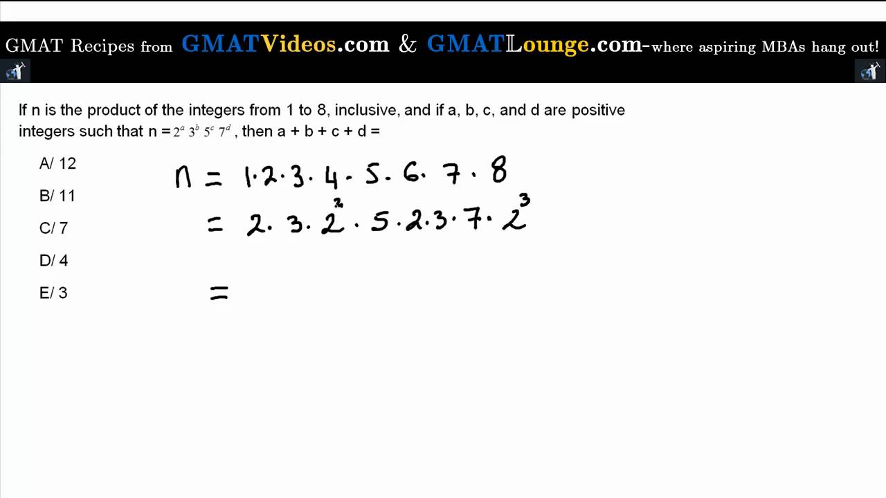 GMAT Sample Questions- Prime Factorisation Of The First 8 ...