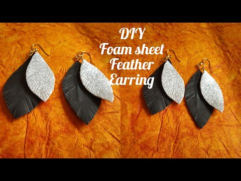 DIY Foam sheet Feather Earring / How to make Feather Earring / Earring making idea