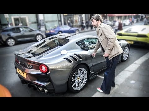 Singer Jay Kay from Jamiroquai Driving his Ferrari F12 TDF in London!!