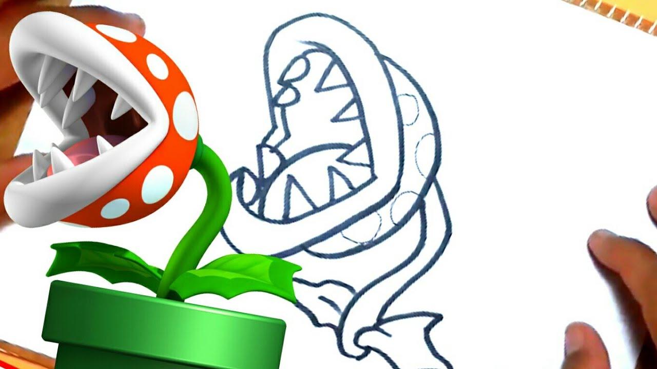 Cómo dibujar a Planta piraña de Mario bros paso a paso - YouTube
