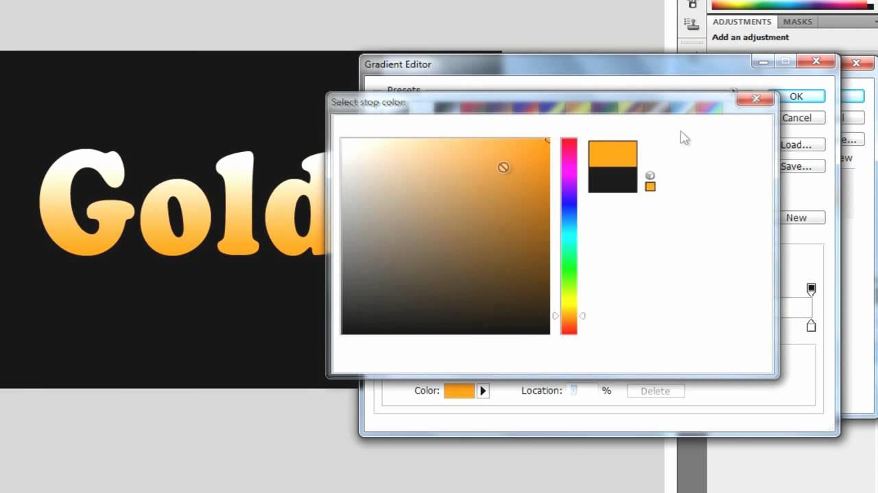 Photoshop cs4 or cs5 tutorial create shiny gold text youtube baditri Image collections