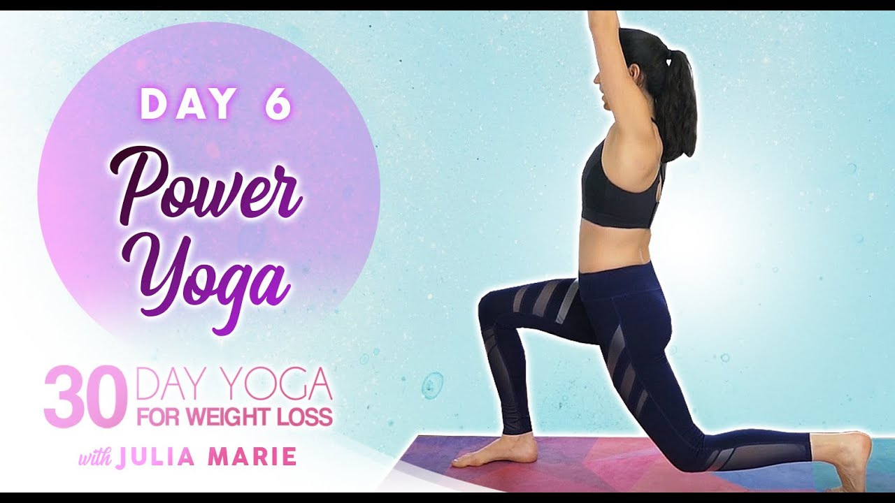 30 Day Yoga for Weight Loss Julia Marie ♥ Power Yoga HIIT 20 Minute Cardio Burn Workout   Day 6