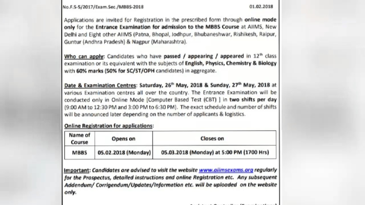 Aiims 2018 Alert!!! Last Date to Submit your Application forms ... on
