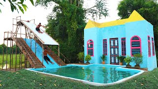 Build Pretty Villa For Living And Swimming Pool With Two Story Water Slide For Fun &  Exercise- full