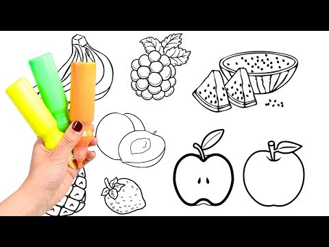 Learn the colors 🎨 Learning colors and coloring in fruit | Colouring Book