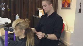 Укладка на средние волосы, небрежные локоны с прямыми концами, Школа ШТЭРН