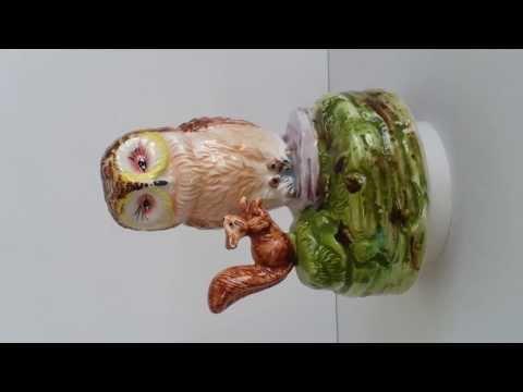 Owl & Squirrel Music Box Beatrix Potter Plays Nutcracker