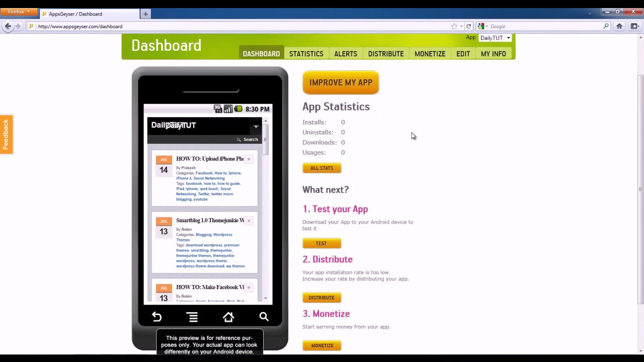 How to create android app from appsgeyser