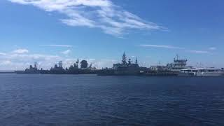The participants of the parade of the Navy Day enter Kronstadt.
