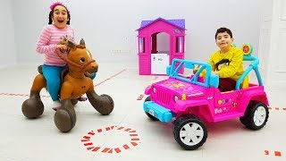Kids and cute brother pretend play new cars