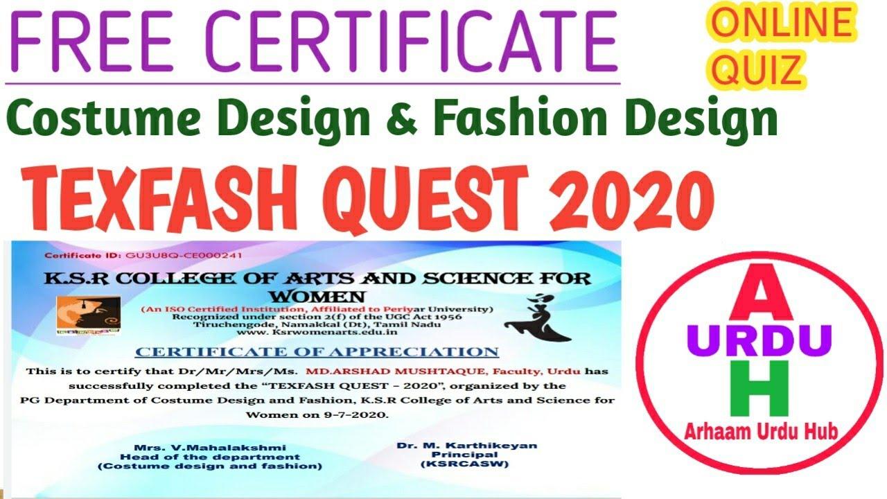 Online Quiz Quiz On Costume Design Fashion Design Texfash Quest 2020 Free Quiz Certificate Youtube