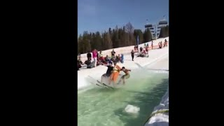 Guys Go From Skiing On Snow To Waterskiing With A Smooth Finish