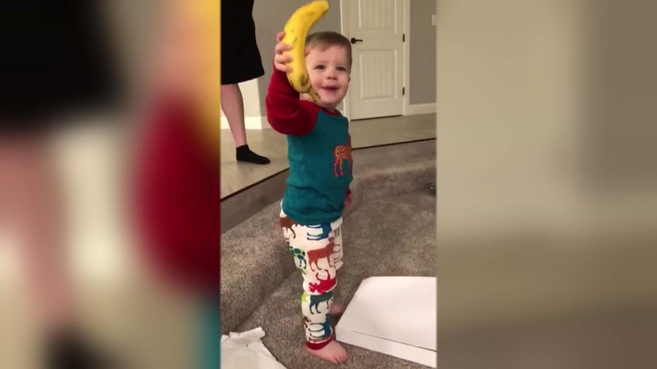 2-Year-Old Boy In Awe of Banana He Got for Christmas - YouTube