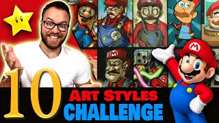 Drawing in 10 DIFFËRENT STYLES..? | Art Style SWAP Challenge | MARIO