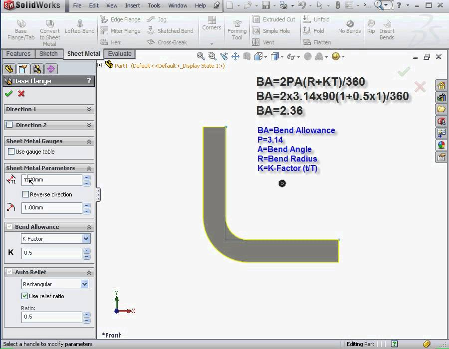 Solidworks Tutorials Sheet Metal 2012 What Is K Factor