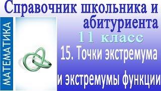 Точки экстремума и экстремумы функции. Видеосправочник по математике #15