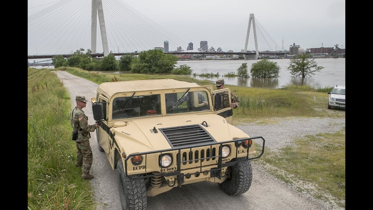 Illinois National Guard patrols levees in search of trespassers and  problems spots