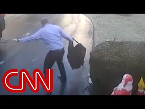 Man's slide down icy driveway goes viral
