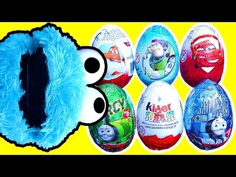 6 Surprise Eggs Crash Unwrapping Cookie Monster Screaming Banshee Furby Hot Wheels Dinosaur Train