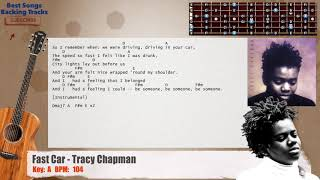 🎸 Fast Car - Tracy Chapman Guitar Backing Track with chords and lyrics