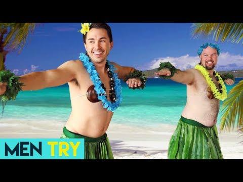 Men Try Hula Dancing
