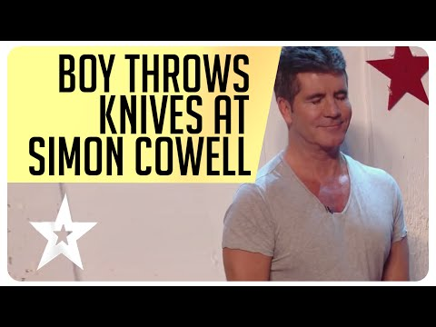 Shocking moment 11 year old Edward Pinder throws knives at Simon Cowell