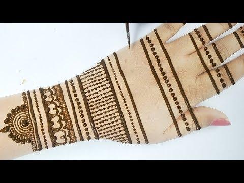 सुंदर मेहँदी डिज़ाइन लाइन trick से लगाना सीखे -How to apply Easy Mehndi on Hands Step by step
