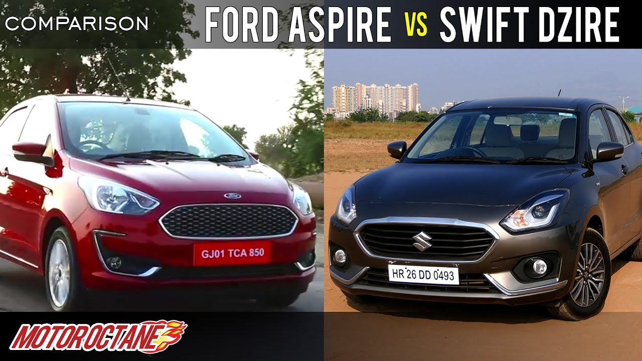 Ford Aspire 2018 vs Maruti DZire 2018 Comparison | Hindi | MotorOctane