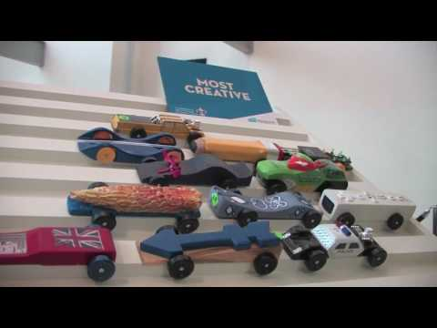 Giant Pinewood Derby Track at the Indiana State Museum | Everyone can race!
