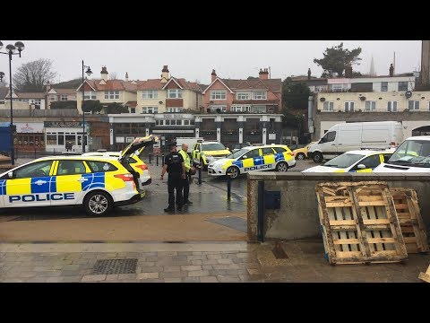 Footage from the scene of Felixstowe beach body discovery