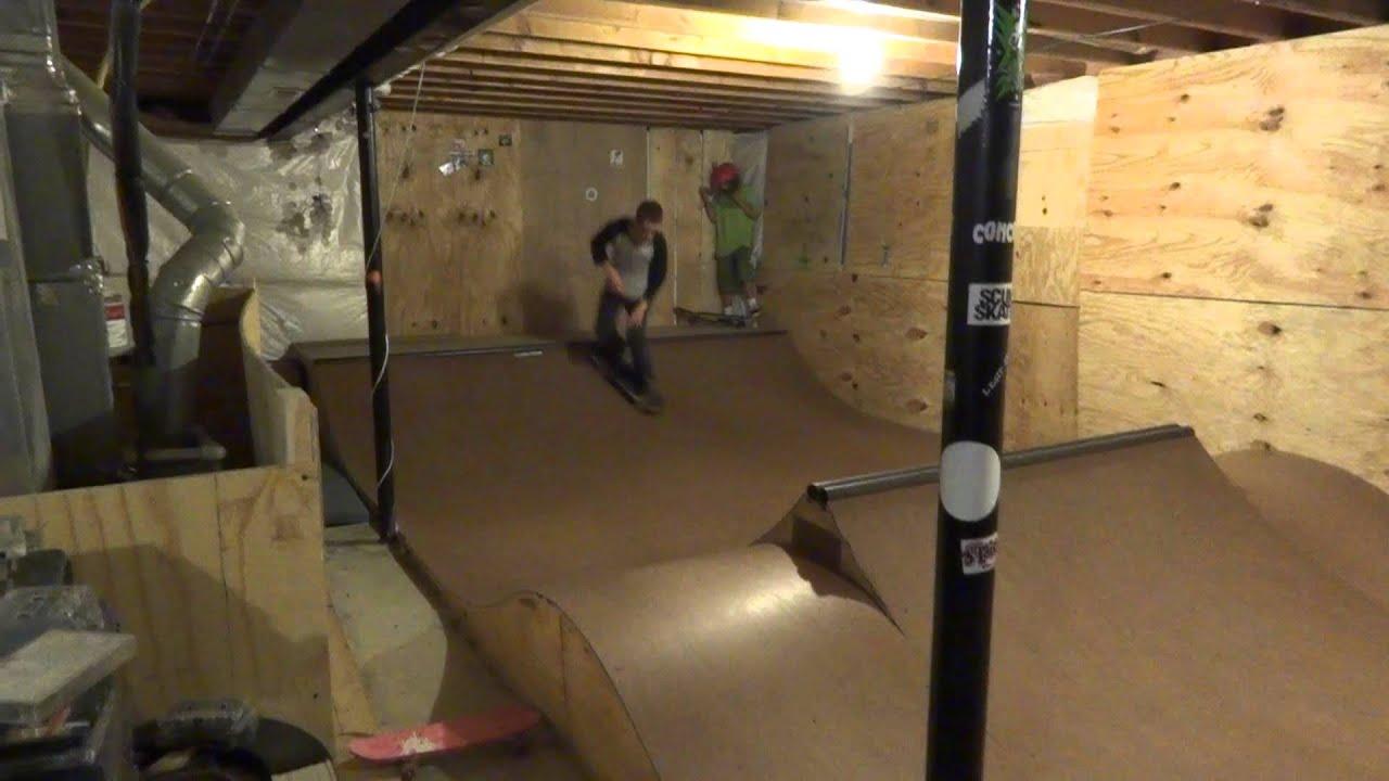 Mini Ramp in Basement  YouTube