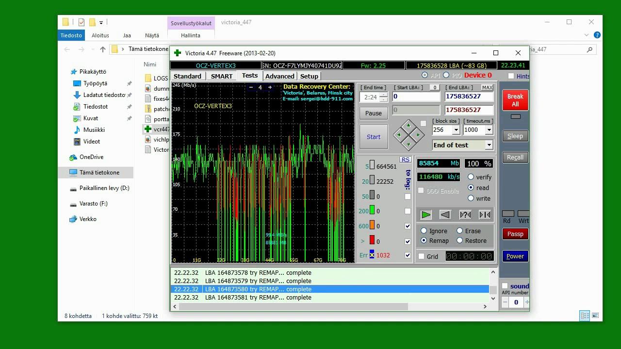 программа виктория видео инструкция отключение битых секторов
