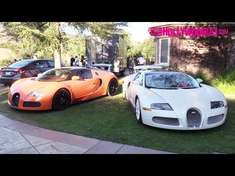Tyga Parks His New Orange Bugatti Next To Another One In Jamie Foxx's Front Yard 2.17.18