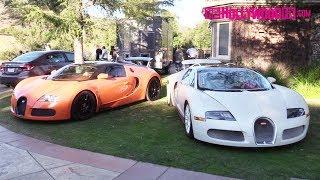 Tyga Parks His New Orange Bugatti Next To Another One In Jamie Foxx