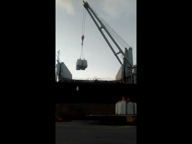Cẩu bao jumbo đã đóng hàng lên tàu tại cảng - Louispack