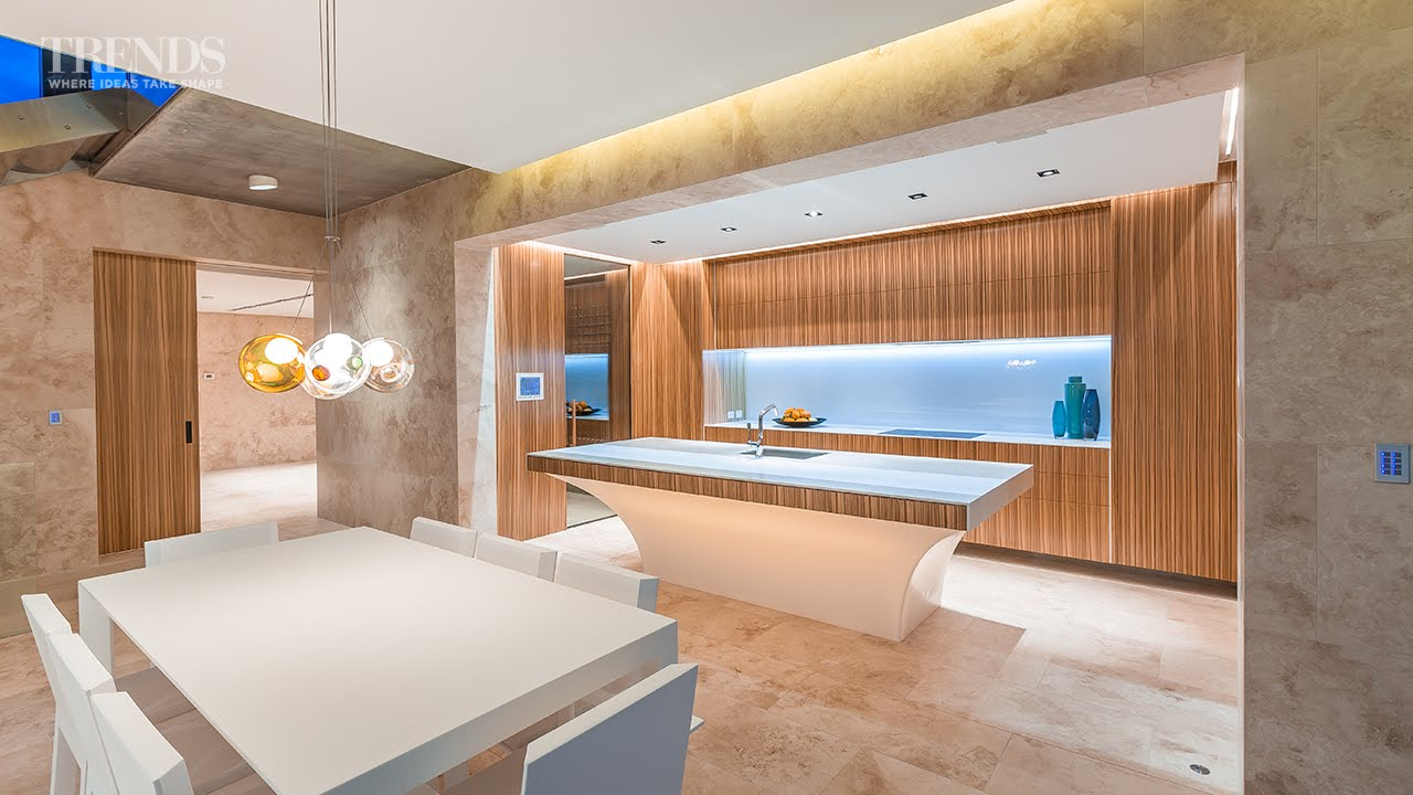 Sculptural Kitchen Island With Led Lighting Youtube