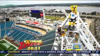 Ginger Zee Bungee Ziplining @ EverBank Field 10-06-14