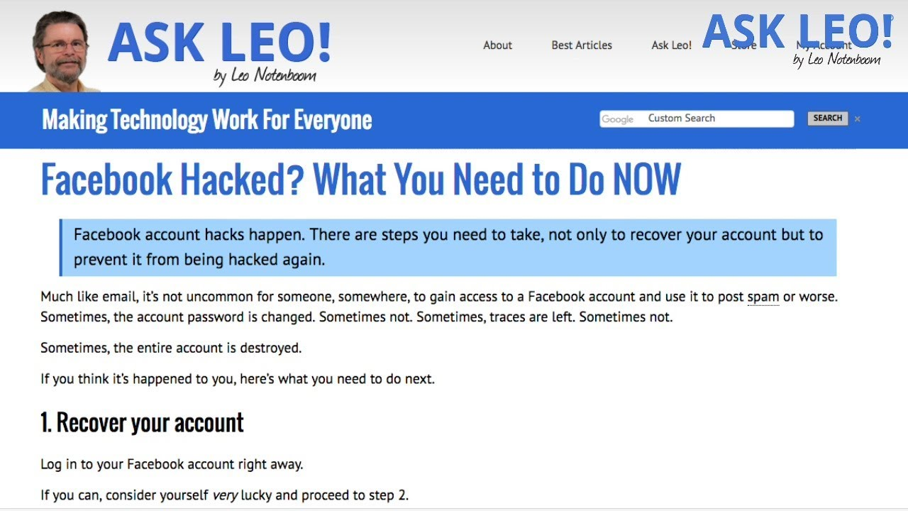 Facebook Hacked? What You Need to Do NOW - Ask Leo!