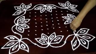 Beautiful lotus flowers kolam with 11-11 straight |  chukkala muggulu with dots| rangoli design