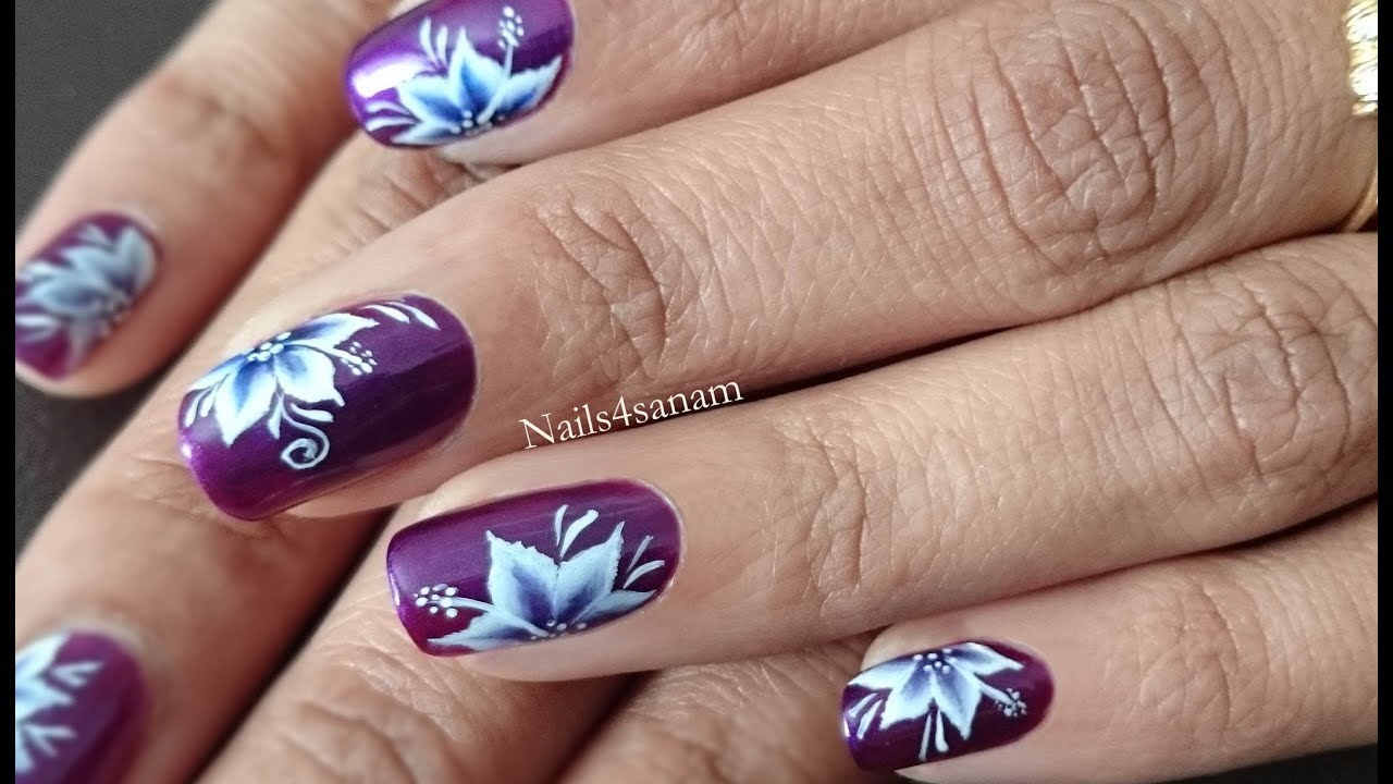 Nail art tutorial | One stroke technique-pointy floral - YouTube