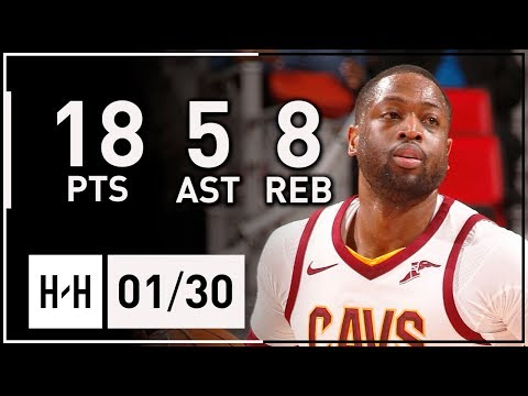 Dwyane Wade Full Highlights Cavaliers vs Pistons (2018.01.30) - 18 Pts, 8 Reb, 5 Ast off the Bench!